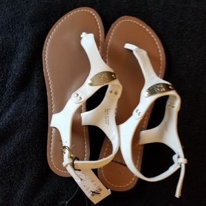 NY&C White Strap Sandals Gold Meta l& Studs New